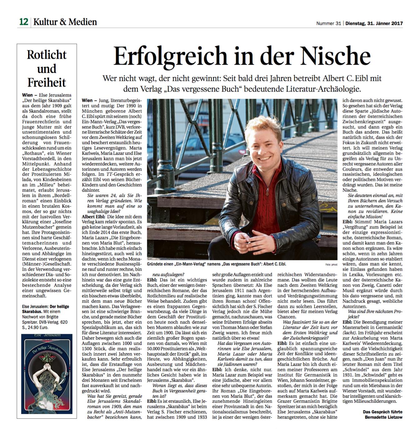 Albert Eibl im Interview mit der Tiroler Tageszeitung – Das vergessene Buch