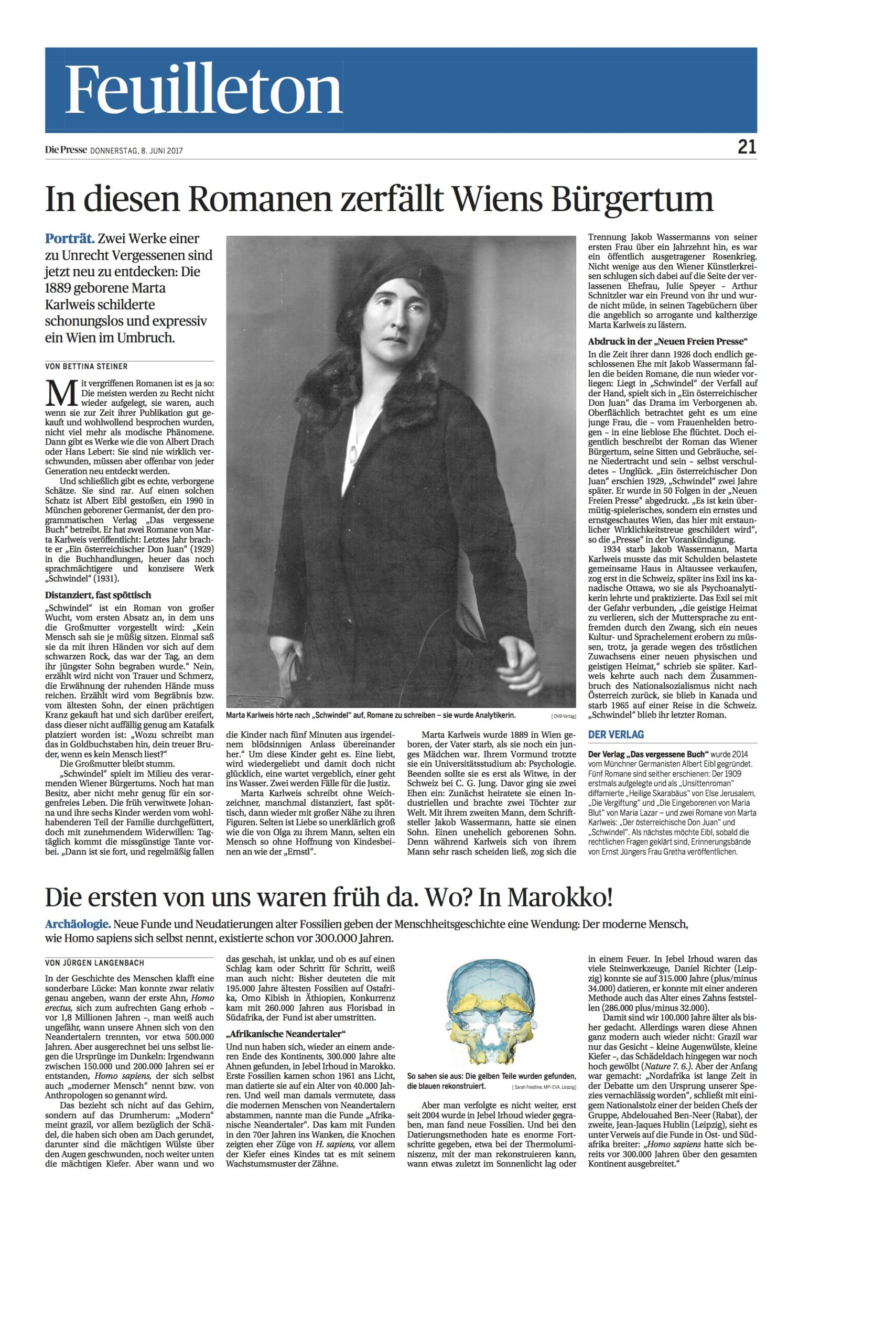 Besprechung Marta Karlweis Schwindel – Die Presse, (8. Juni 2017)