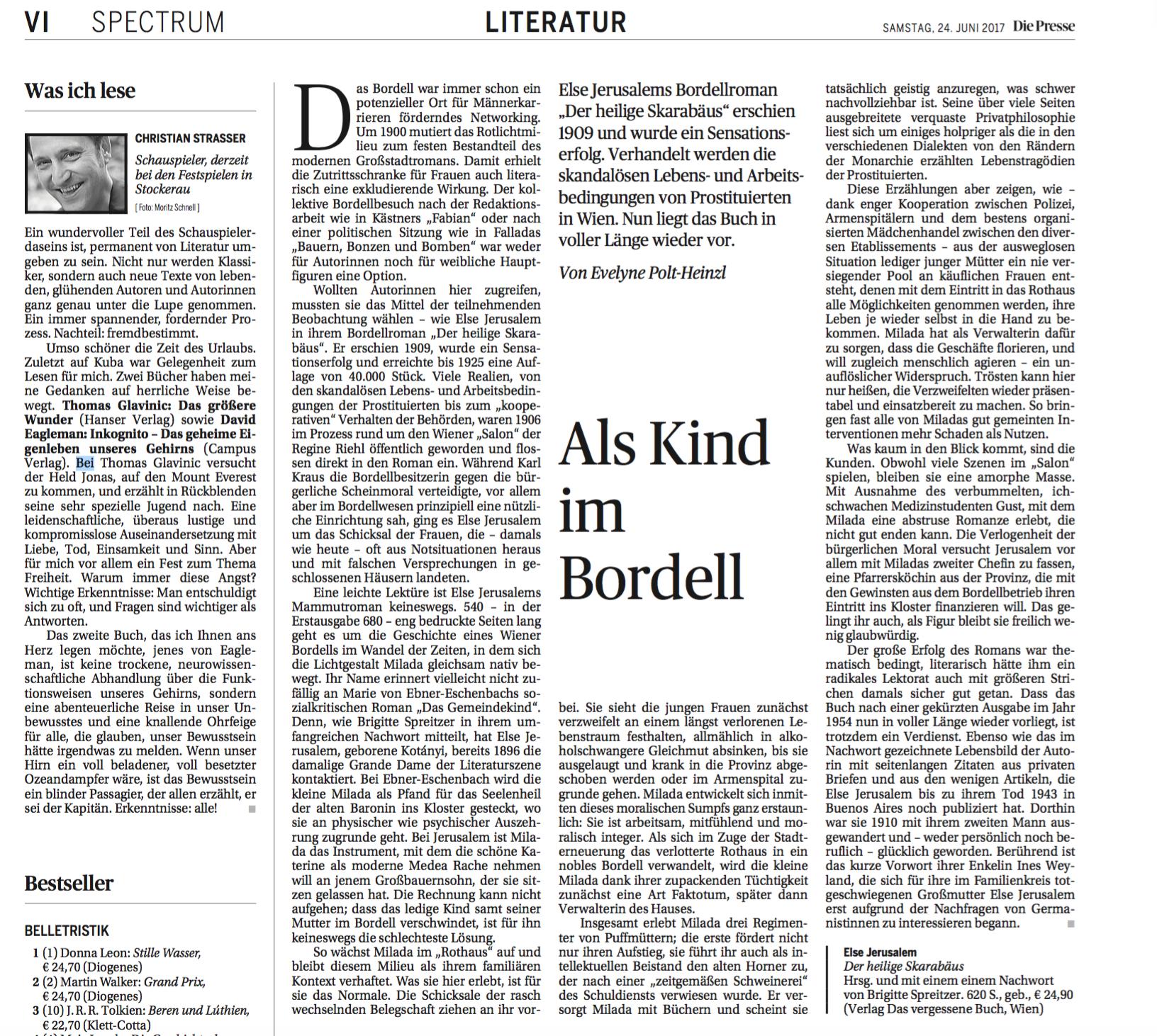 """Rezension """"Der heilige Skarabäus"""" – Die Presse"""