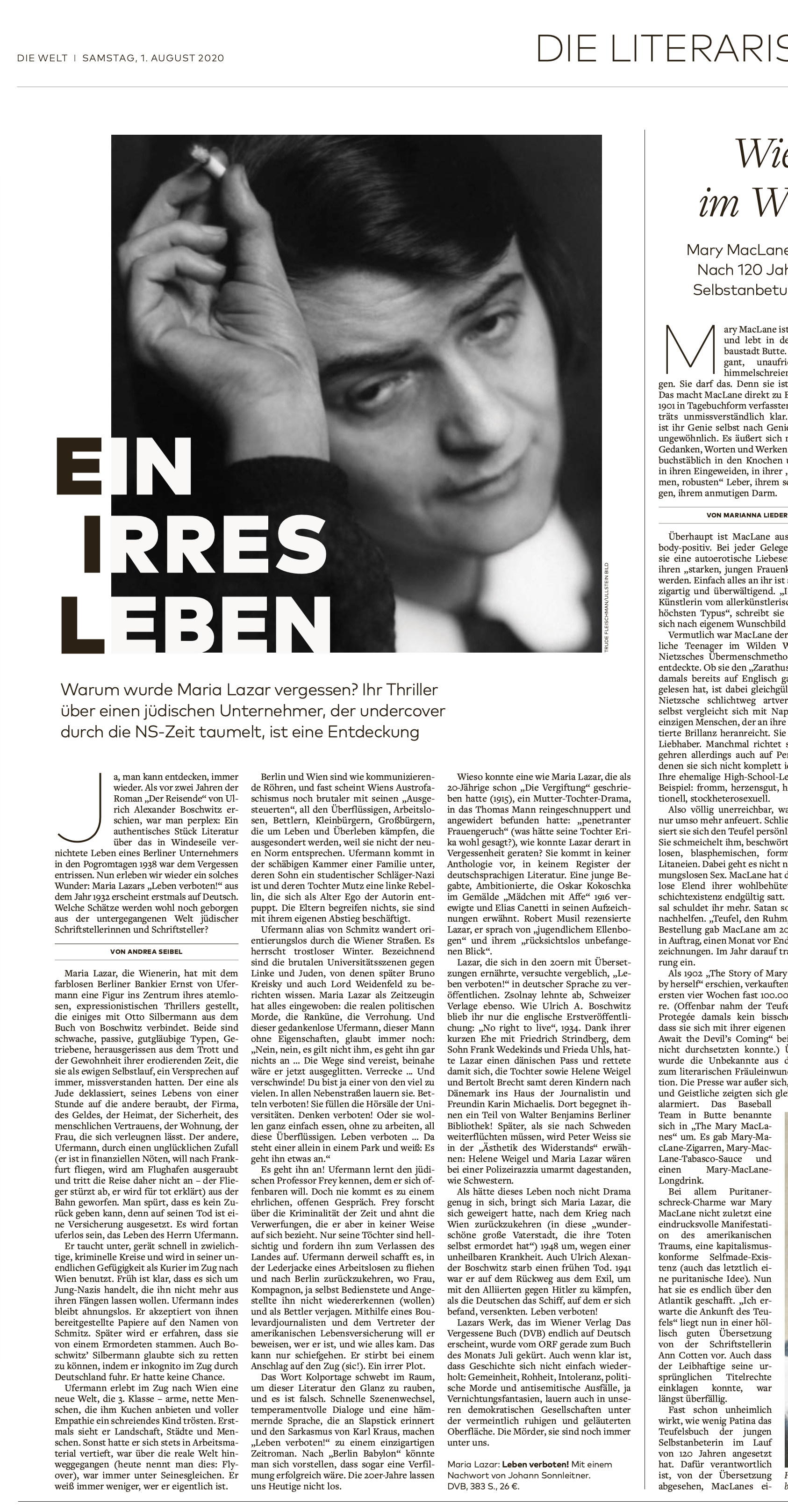 Ausschnitt Literarische WELT – Leben verboten!