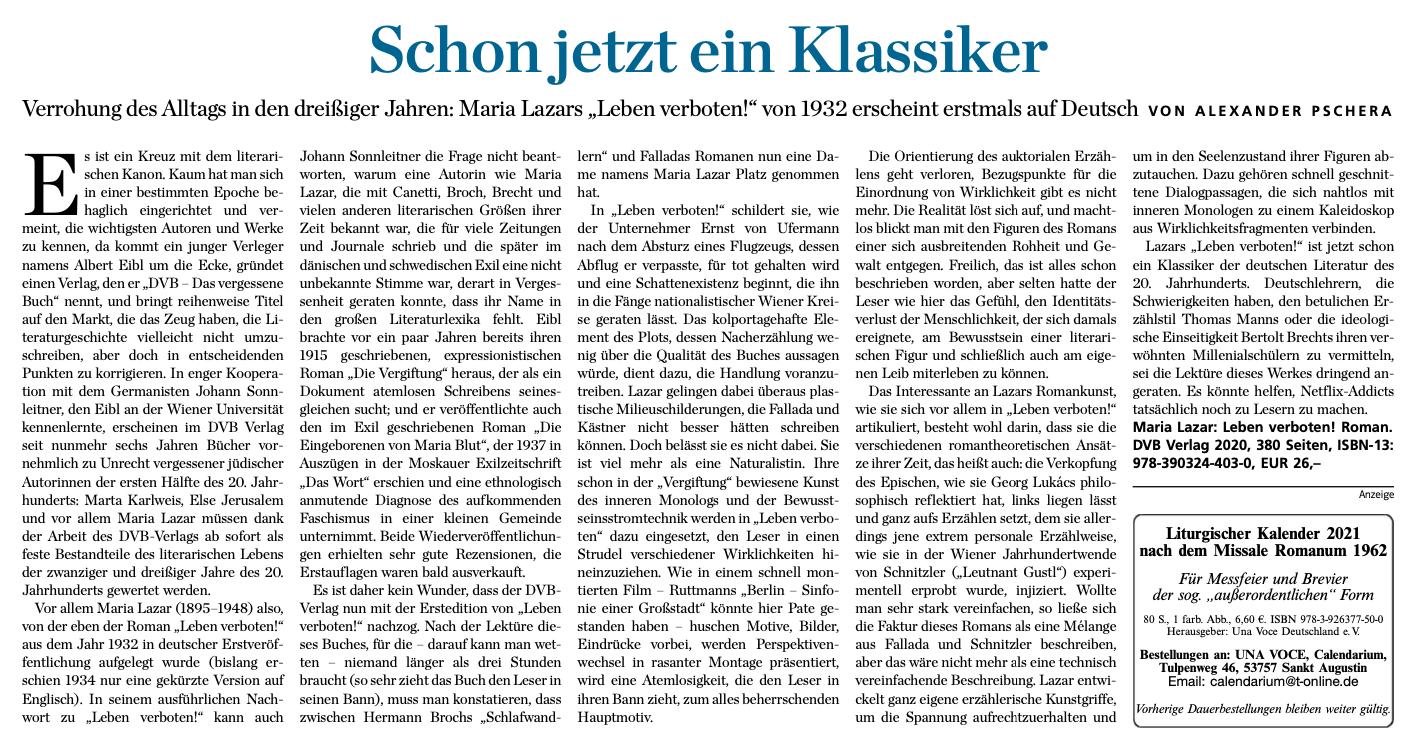 Tagespost Pschera – Rezension Leben verboten! 2
