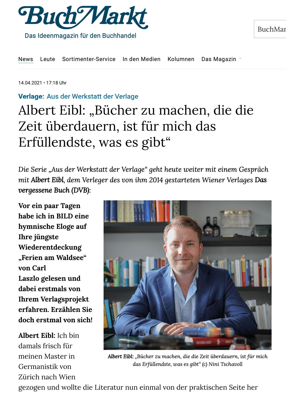 BUCHMARKT-Interview Albert C. Eibl